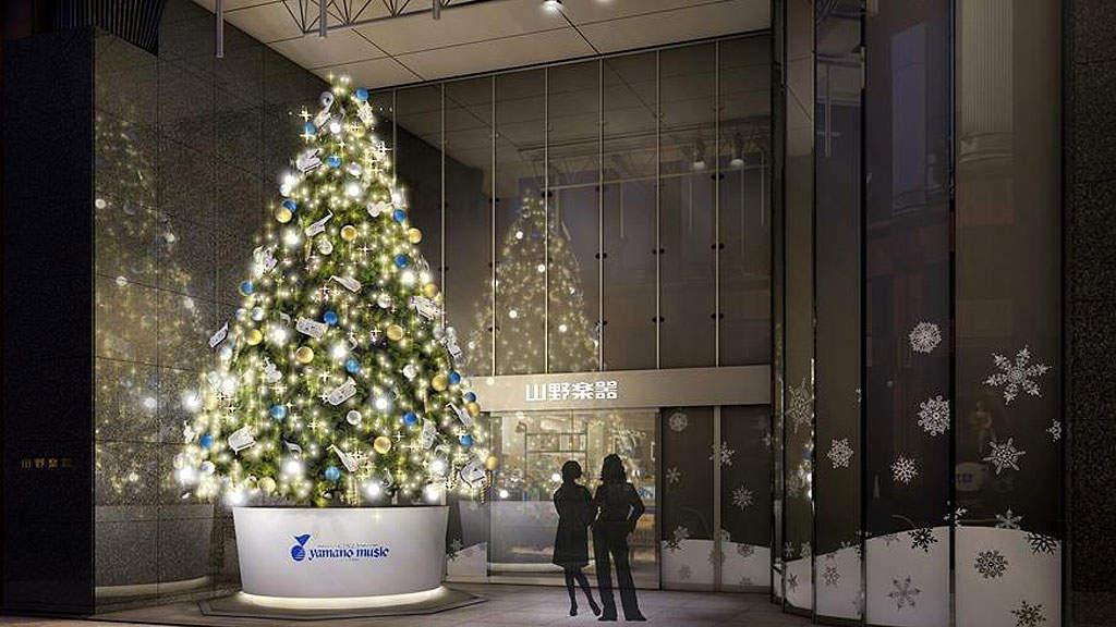 山下達郎「クリスマス・イブ」で音と光のハーモニーをお届け、今年も銀座山野楽器 本店にクリスマスツリーが登場(BARKS)